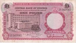 BILLETE DE NIGERIA DE 1 POUND DEL AÑO 1967 (BANKNOTE) - Nigeria