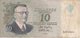 BILLETE DE FINLANDIA DE 10 MARKKAA DEL AÑO 1963  (BANKNOTE) - Finland