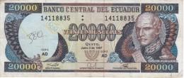 BILLETE DE ECUADOR DE 20000 SUCRES DEL 2 DE JUNIO DEL AÑO 1997 (BANKNOTE) - Ecuador