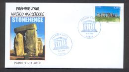 6.- 006 FRANCE 2012. SPECIAL POSTMARK. ARCHEOLOGY. STONEHENGE. ENGLAND.  UNESCO - Archaeology