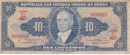 BILLETE DE BRASIL DE 10 CRUZEIROS  (BANK NOTE) - Brasil