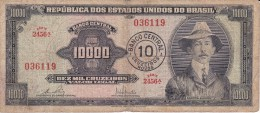 BILLETE DE BRASIL DE 10000 CRUZEIROS SERIE 2456A (BANK NOTE) RARO Y DIFÍCIL - Brasil