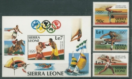 Sierra Leone 1984 Olympiade Los Angeles 741/43 Block 20 Postfrisch (R22212) - Sierra Leone (1961-...)