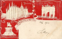 UN SALUTO DA MILANO - F/P - V: 1902 - I - IN RILIEVO - Milano (Milan)