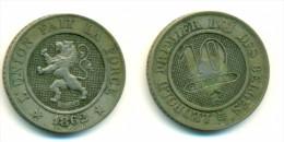 1862 Belgium 10 Centimes Coin - 1831-1865: Leopold I