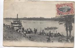 TP Mols 10 C S/CP Bateau Et Fleuve C.Irebu 1910+ Passage + C.mauve Léopoldville V.Anvers C.d'arrivée PR2475 - Congo Belge