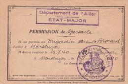 ALLIER - PERMISSION DE SPECTACLE - 16/7/40 - Montluçon - WW2 - Guerre 39-45 - Documents Historiques