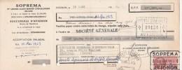 Lettre Change 19/3/1953 SOPREMA Usines Alsaciennes D'émulsions Réunies AVIGNON Vaucluse Pour Grenoble - Lettres De Change