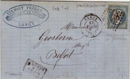 MEURTHE ET MOSELLE - Nancy- Lettre à Belfort -CAD- Type15+Apres Le Départ-Oblitération GC 2598- 1867 - Postmark Collection (Covers)