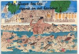 Humour : A La Queue Leu-leu Comme On Est Heureux (gendarme Képi Circulation Piscine) N°5373 éd Perroquet Texte Chapeau - Humour
