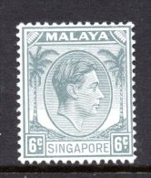 Singapore 1948-52 - KGVI - P.14 - 6c Grey HM (SG 5) - Singapur (...-1959)