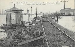 Inondations Des 24 & 25 Janvier 1910 - Chalon-sur-Saone - Epaves Sur La Voie Ferrée Des Dombes - Carte Non Circulée - Inondations