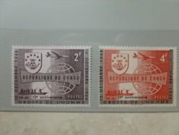 Serie Surcharge Droit De L´homme 2 Valeurs En Neuf Congo - República Del Congo (1960-64)