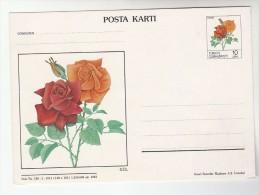 1983 TURKEY Illus ROSE Postal STATIONERY CARD Roses Flower Stamps Flowers Cover - Postal Stationery