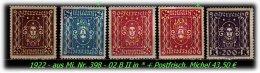 Österreich - 1922 - Aus Mi. Nr. 398 - 402 B II. - Ungebraucht
