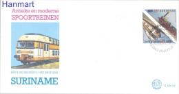 Surinam 1986 Mi 1180-1181 FDC - Locomotives - Trains