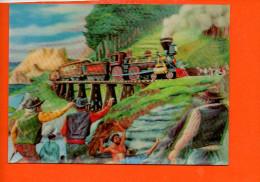 Le Train D'après G. De Sainte Croix  Carte En 3D - Carte à Relief M.D.   (non écrite , Non Oblitérée) - Trains