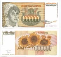 Yugoslavia 100.000 Dinara 1993. UNC P-118 Replacement - Yougoslavie