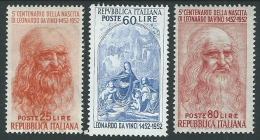 1952 ITALIA LEONARDO DA VINCI 3 VALORI MH * - B11 - 6. 1946-.. Republic