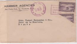 Carta De San Pedro Sula A Jerez, Franqueado Con 5 Ctmos Y Bisectado Matasellado 23 Septiembre De 1931. - Honduras