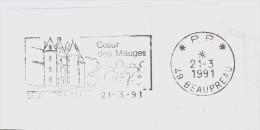 FRANCE. FRAGMENT POSTMARK. BEAUPREAU. CASTLE. 1991 - Marcofilia (sobres)