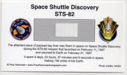 - STS 82 - SPACE SHUTTLE DISCOVERY / SEGMENT OF PAYLOAD BAY LINER - FLOWN - Meteorites