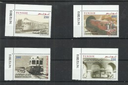 New Issue 2015 - Tunisia - Trains Of  Tunisia - Complete Issue 4V MNH ** ( Dated Corner) - Treni