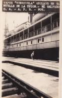 POSTAL DE LA UNION DEL VAPOR VENEZUELA ANCLADO EN EL MUELLE DEL AÑO 1928 (FOTO AMANO P.B.) (EL SALVADOR) - El Salvador