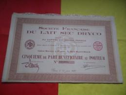 FRANCAISE DU LAIT SEC DRYCO (1937) - Shareholdings