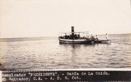 POSTAL DE LA UNION DE EL REMOLCADOR PRESIDENTE DEL AÑO 1928 (FOTO AMANO P.B.) (EL SALVADOR) - El Salvador