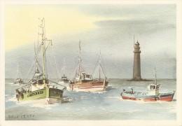 Transport. CPM. Pêche. Retour Au Crépuscule (aquarelle Roland Chételat) (bateau, Car-ferry) - Visvangst