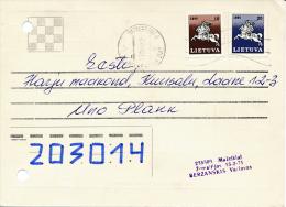Correspondence Draughts Checkers Multiple Stamps Postcard - 27 January 1992 Mažeikiai To Estonia - Lituania