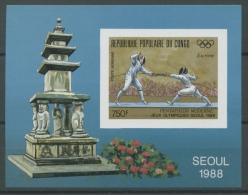 Kongo (Brazzaville) 1988 Olympiade Seoul Block 43 B Postfrisch (C22345) - Neufs