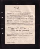 SCHOOTEN SCHOTEN Marie Louise ULLENS En Religion Soeur Marie, Vincent-de-Paul, EKEREN BRUXELLES Sourdes 1888-1920 - Avvisi Di Necrologio