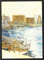 United Arab Emirates UAE  Dubai Picture Postcard View Painting Ship Sea Building  Post Card - Dubai