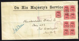 TURKS & CAICOS  1918 Registered OHMS Letter To USA   1d. WAR TAX  SG 146 X9 - Turks And Caicos