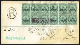 St KITTS NEVIS   1919 Registered  Letter To USA   WAR TAX Overprint Blocks Of 12 SG 22 - St.Cristopher-Nevis & Anguilla (...-1980)