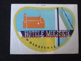 HOTEL ORBIS PENSION MOTEL SPA MISC MIEJSKIE OLSZTYNIE POLSKA POLAND TAG LUGGAGE LABEL ETIQUETTE AUFKLEBER DECAL STICKER - Hotel Labels