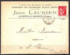 """Lettre De  LACAPELLE-BARREZ  Cantal    Le 26 8 1936  Entete """" PRODUITS DES MONTAGNES D AUVERGNE """" Pour ST FLOUR - France"""