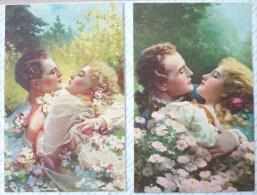 Lot 3x Litho Art Nouveau Novelito Illustrateur GUERZONI NS Couple Femme Homme Amoureux Enlacé Baiser Decor Fleurs - Guerinoni