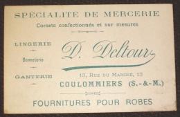 Vieux Papiers - Carte De Visite Mercerie Deltour Coulommiers 77 Seine Et Marne - Cartes De Visite