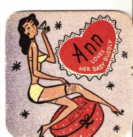 EPHEMERA - VINTAGE GLAMOUR BEERMAT ANN LOVES HER ''BABY BUBBLY'' - Advertising