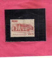 PERU´ 1952 1953 ENGINEERING SCHOOL SCUOLA DI INGEGNERIA SOL 0,25 USATO USED OBLITERE´ - Peru