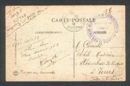 Guerre 1914 1918 Cachet Militaire Station Magasin - Commissaire De Gare  Sur CPA Besançon - Marcophilie (Lettres)