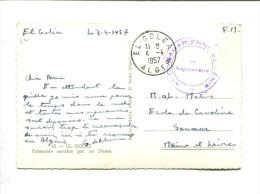 EL GOLEA 1957 Cachet De Franchise 1ere Cie Saharienne Du Génie Le Vaguemestre Sur Carte - Postmark Collection (Covers)