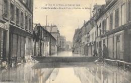 La Crue De La Seine 30 Janvier 1910 - Courbevoie - Rue De Paris - Pontons Du Génie - Carte L'Abeille Non Circulée - Inondations