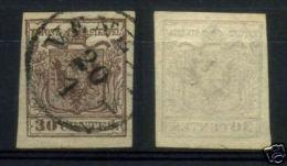 L.Veneto.1° Em. Carta A Mano 30 Cent. Bruno N°7i 1° Tipo Annullo Venezia Con Decalco Parziale - Lombardo-Veneto
