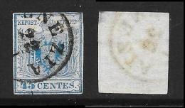1850 Lombardo Veneto - N. 12 - 45 Cent. Usato - Cat. 80 € - Antichi Stati Lotto 286 - Lombardy-Venetia