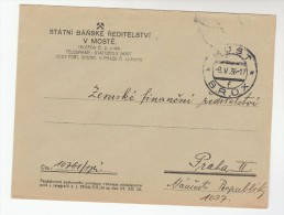 1936 STATE MINING DIRECTORTAE Mail COVER MOSTE CZECHOSLOVAKIA Illus MINING EMBLEM  Minerals Energy Stamps - Covers & Documents