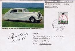 D+ Deutschland 1985 Mi 1253 Umweltschutz Brief: Autogramm Gerhard Schröder, Außenminister (UNIKAT / ÙNICO / PIÉCE UNIQUE - [7] République Fédérale